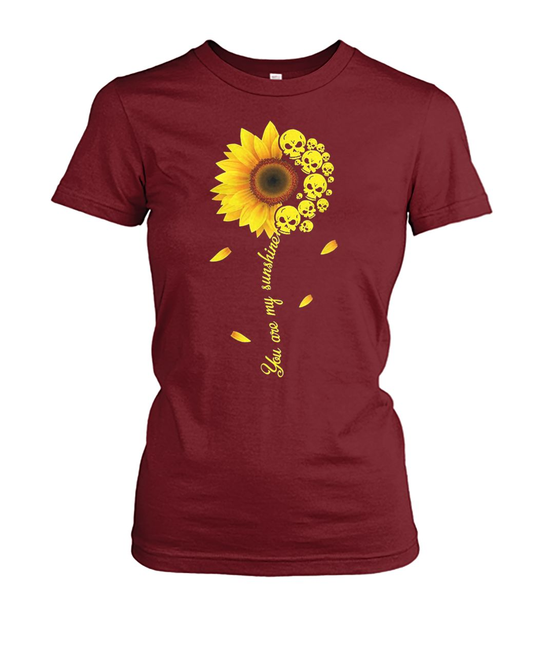 You are my sunshine skull sunflower women's crew tee