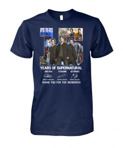 15 year of supernatural thank you for the memories unisex cotton tee