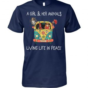 A girl and her animals living life in peace hippie unisex cotton tee