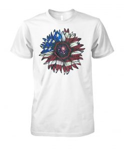 American flag sunflower unisex cotton tee