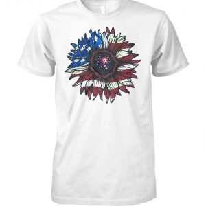 American flag sunflower unisex cotton tee