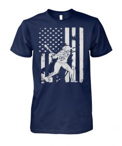 Baseball coach player american flag unisex cotton tee