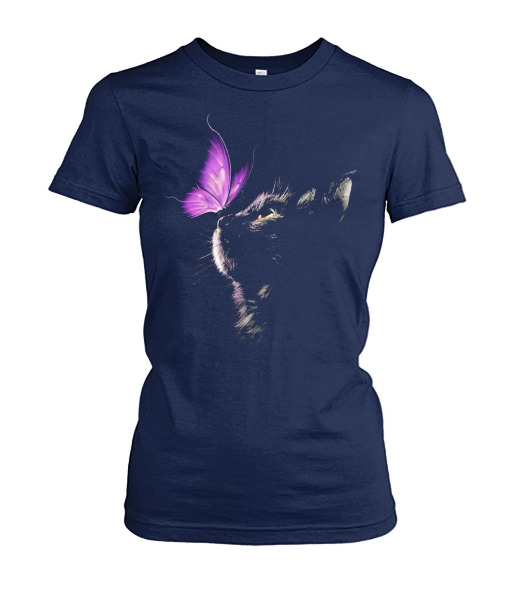 Cat and butterfly women's crew tee