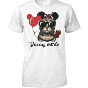 Cat loves mickey mouse vacay mode unisex cotton tee