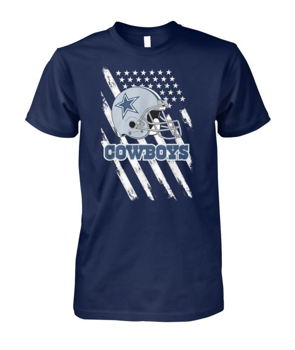 Cowboys football dallas fans USA flag unisex cotton tee