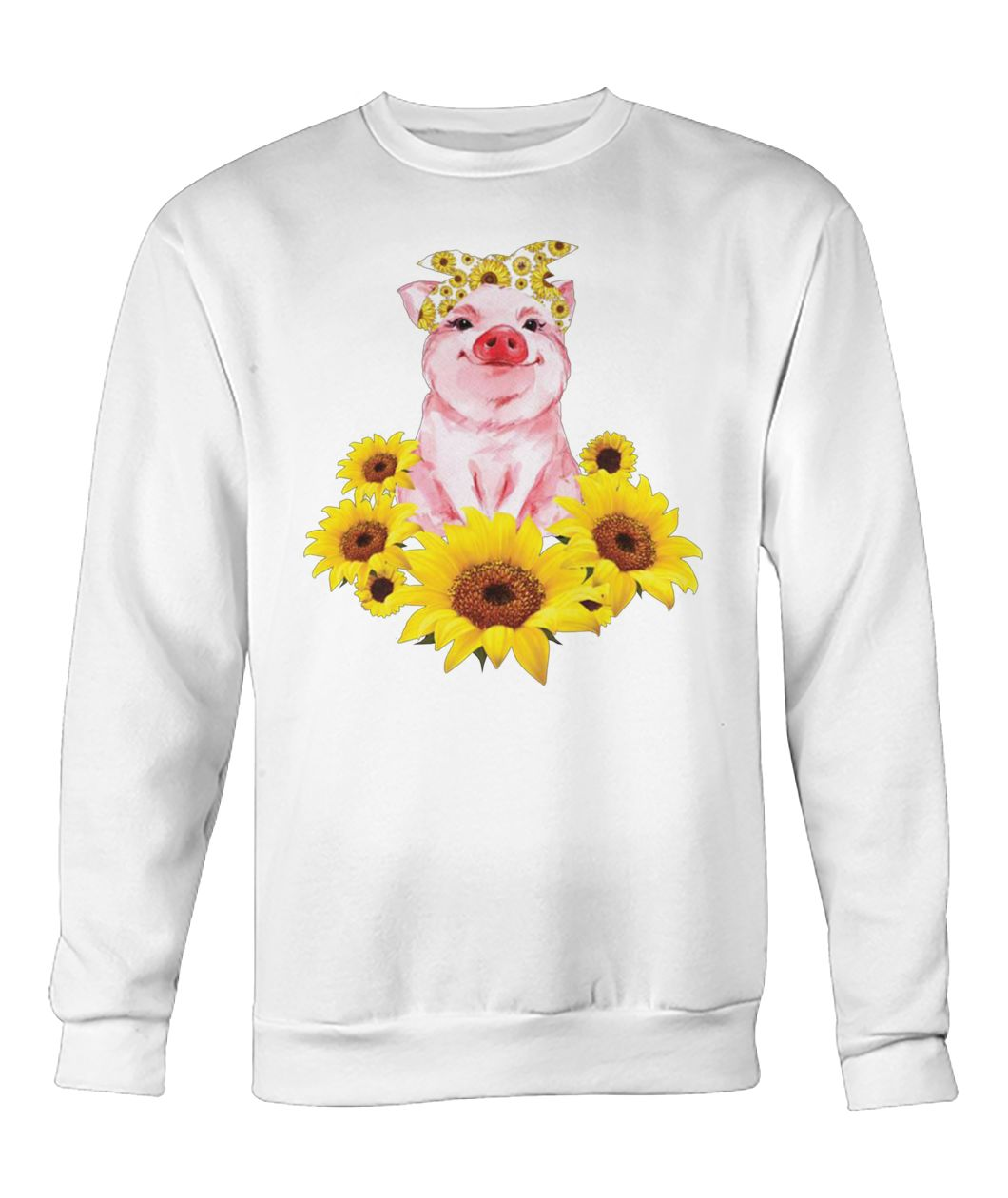 Cute pig with sunflowers crew neck sweatshirt