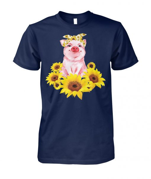 Cute pig with sunflowers unisex cotton tee