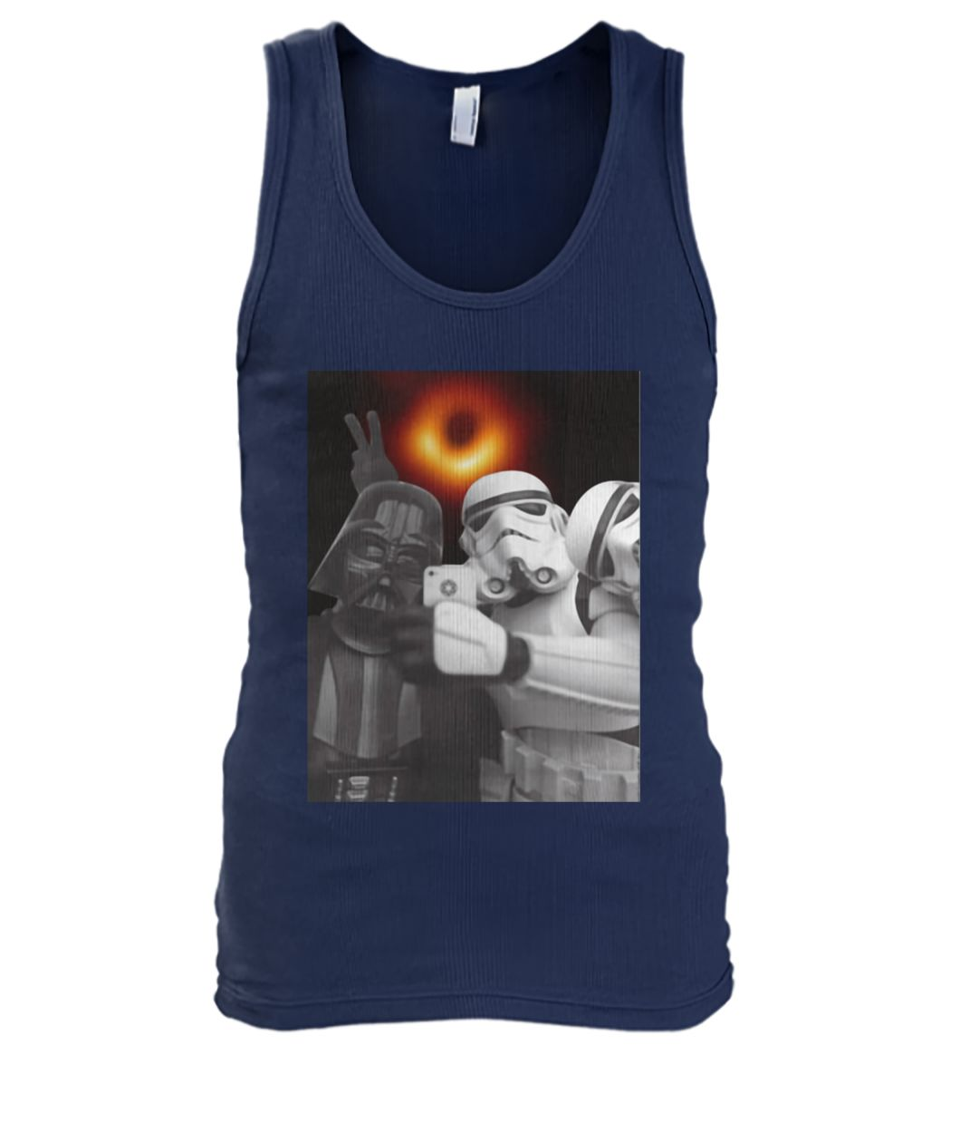 Darth vader and stormtroopers selfie with black hole 2019 men's tank top