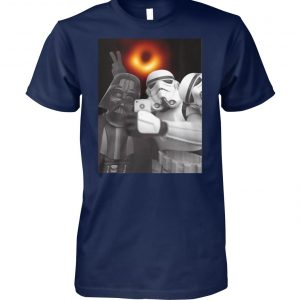 Darth vader and stormtroopers selfie with black hole 2019 unisex cotton tee