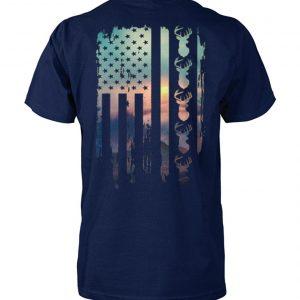 Deer hunting american flag unisex cotton tee