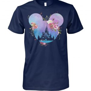 Disney in mickey mouse head floral mickey unisex cotton tee