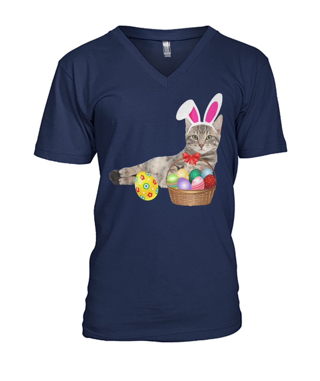 Easter cat bunny ears and eggs mens v-neck