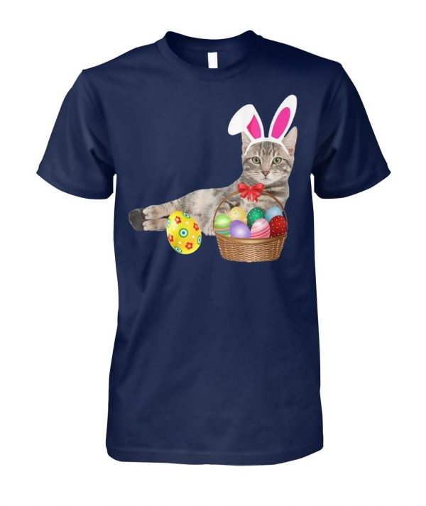 Easter cat bunny ears and eggs unisex cotton tee