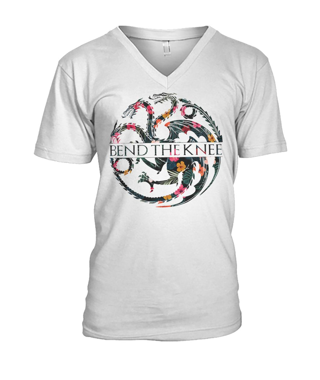 Game of thrones house targaryen bend the knee mens v-neck