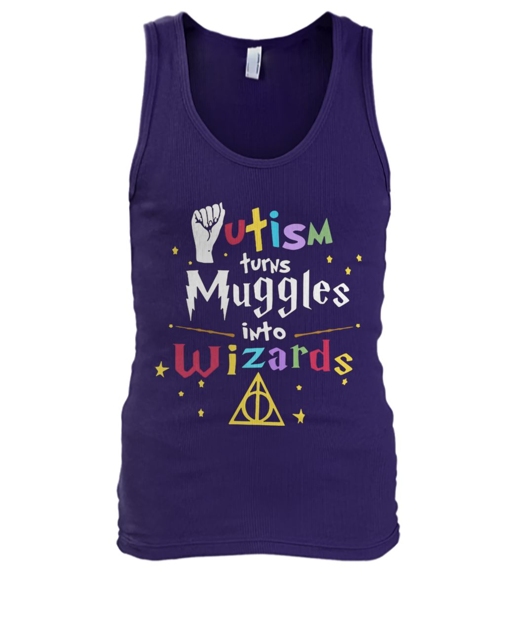 Harry potter autism turns muggles into wizards men's tank top