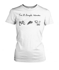 I'm a simple woman I love game pizza and dog women's crew tee