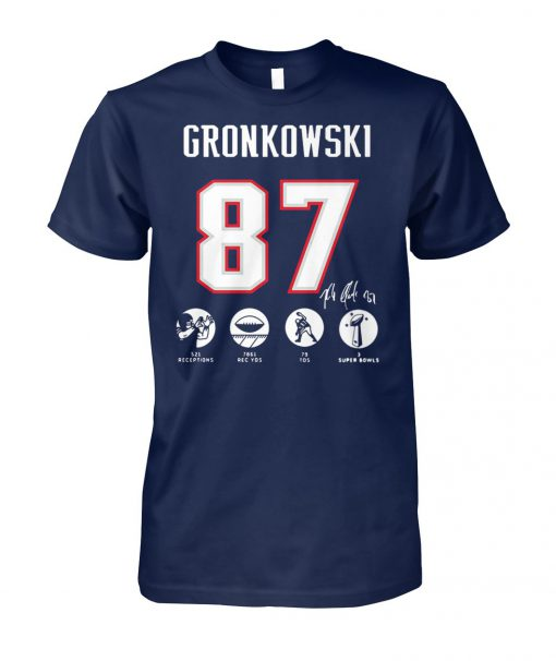 NFL rob gronkowski 87 521 receptions 7861 rec yds 79 tds 3 super bowls unisex cotton tee