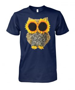 Owl sunflower unisex cotton tee