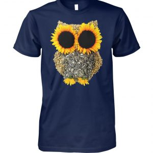 Owl sunflower unisex cotton tee