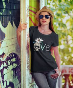 Skull love white daisy flower shirt