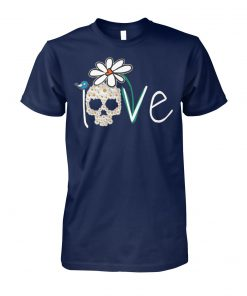 Skull love white daisy flower unisex cotton tee