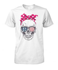 Skull with american flag sunglasses unisex cotton tee