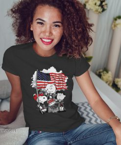 Snoopy charlie brown and lucy with american flag shirt