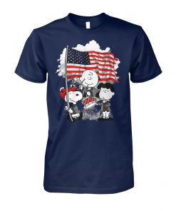 Snoopy charlie brown and lucy with american flag unisex cotton tee