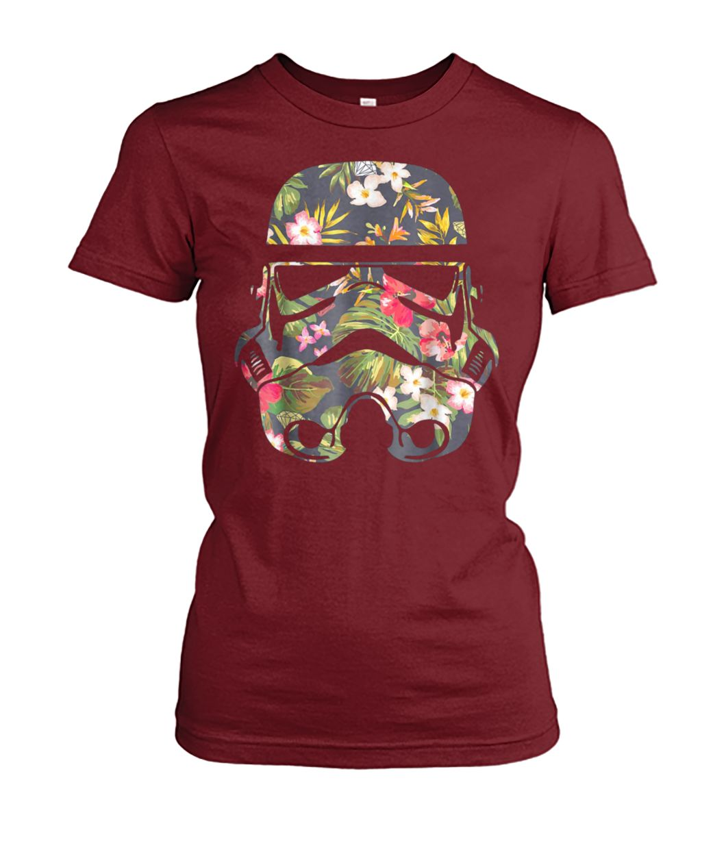 Star wars tropical stormtrooper floral print graphic women's crew tee