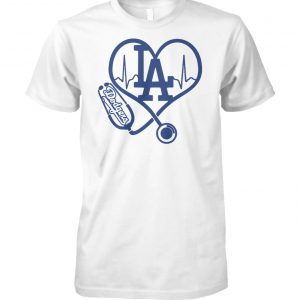 Stethoscope nurse los angeles dodgers unisex cotton tee
