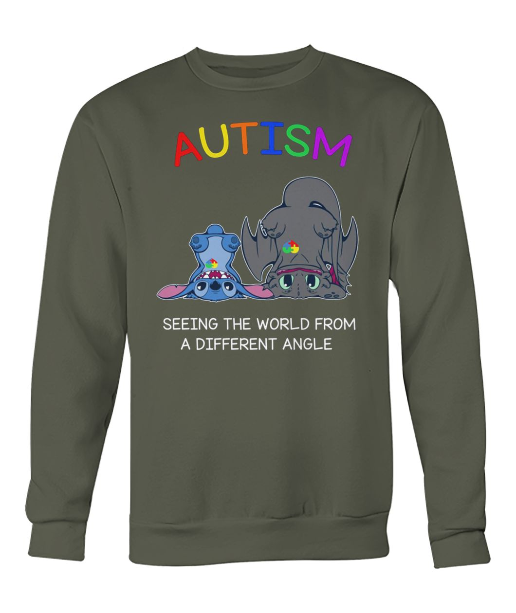 Stitch and toothless autism seeing the world from a different angle crew neck sweatshirt