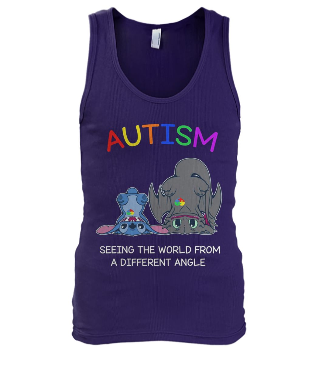 Stitch and toothless autism seeing the world from a different angle men's tank top