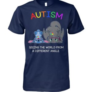 Stitch and toothless autism seeing the world from a different angle unisex cotton tee