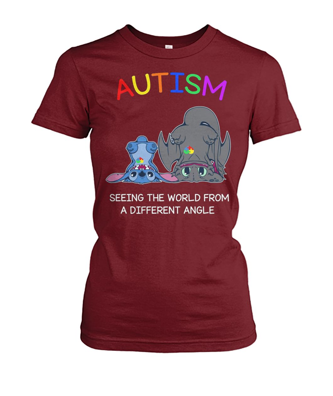 Stitch and toothless autism seeing the world from a different angle women's crew tee