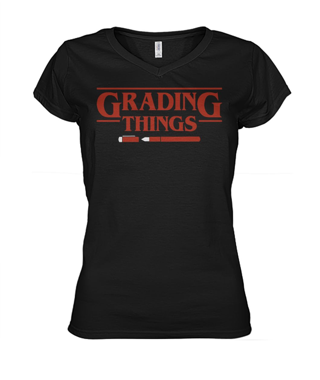 Stranger things grading things women's v-neck