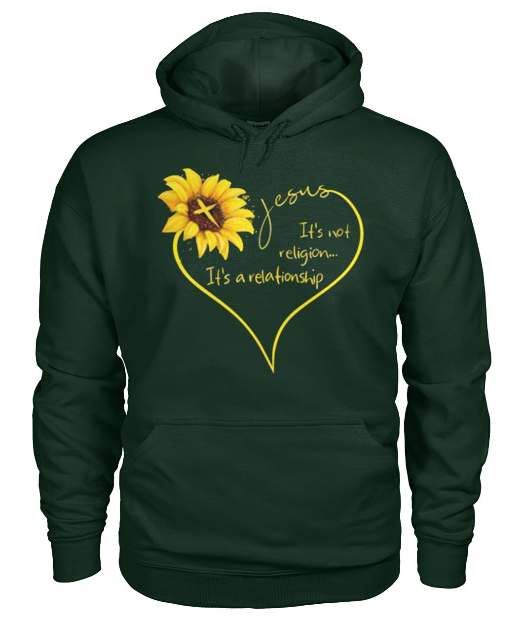 Sunflower Jesus it's not religion it's a relationship gildan hoodie