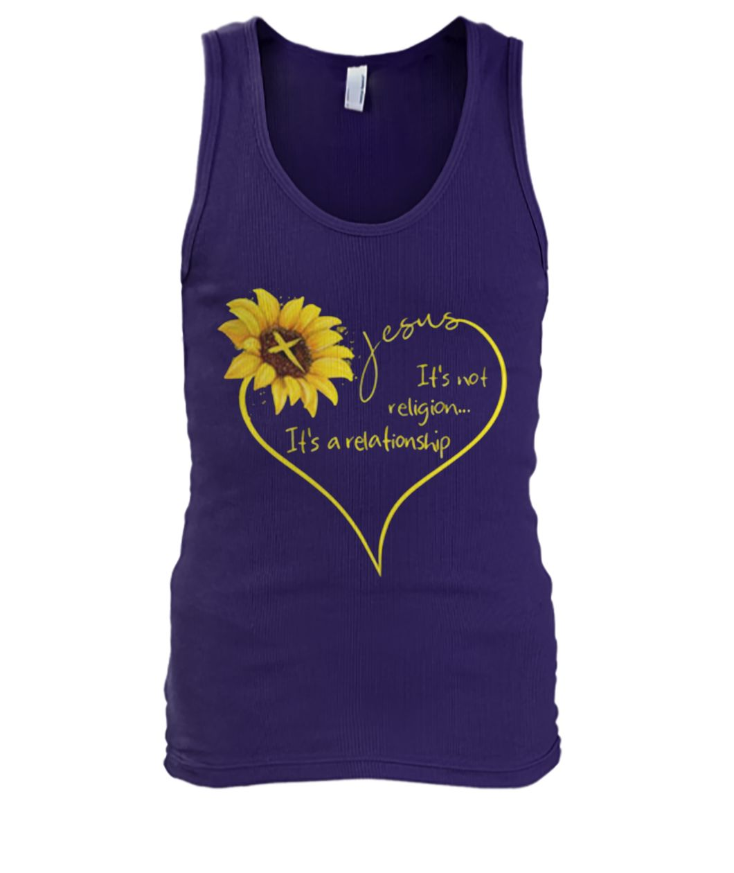 Sunflower Jesus it's not religion it's a relationship men's tank top