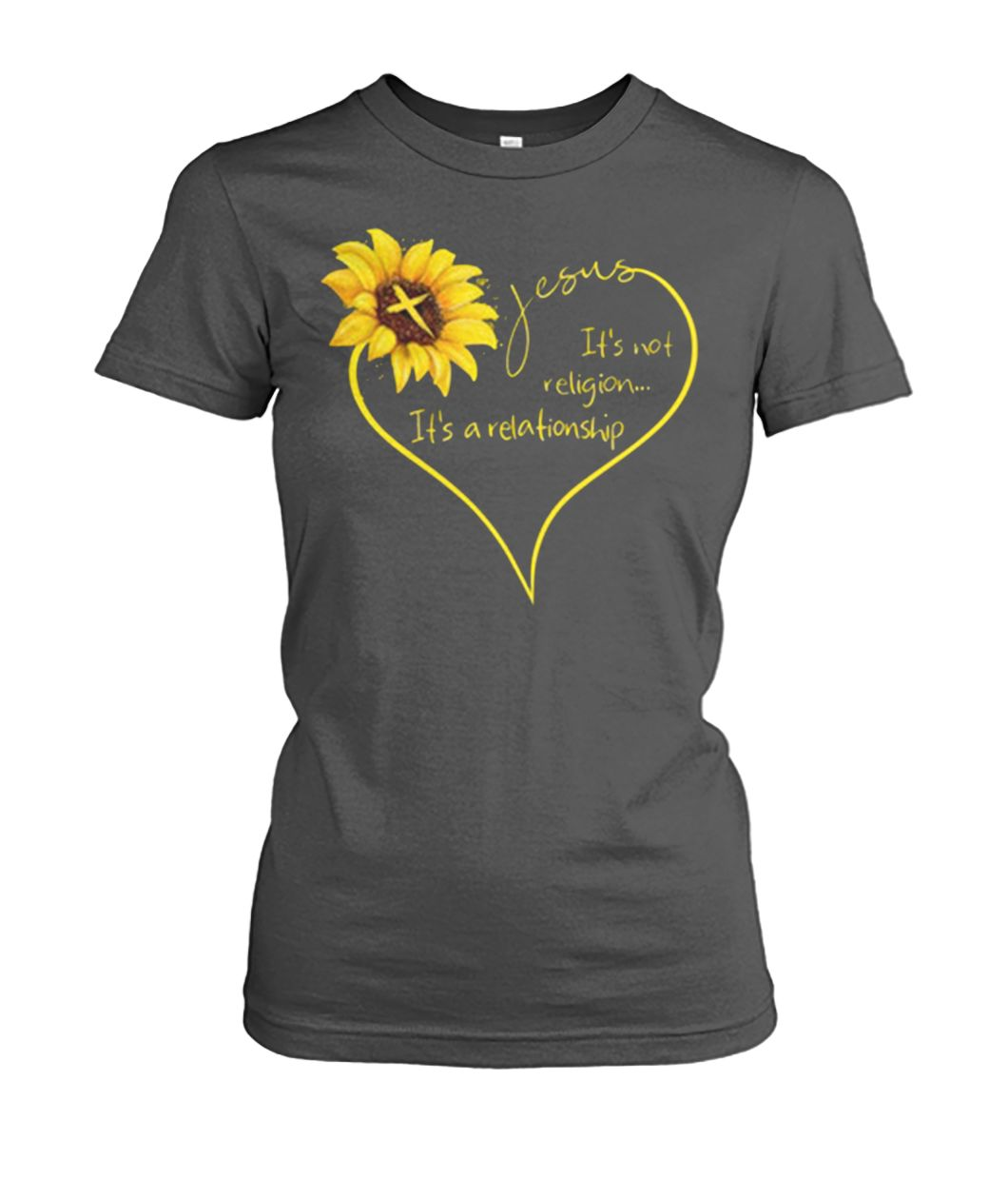 Sunflower Jesus it's not religion it's a relationship women's crew tee