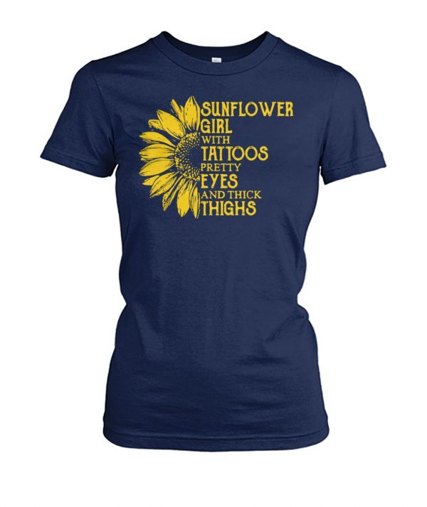 Sunflower girl with tattoos pretty eyes and thick thighs women's crew tee