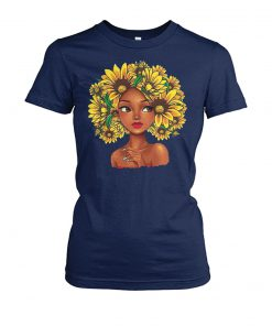 Sunflower natural hair for black girl women's crew tee