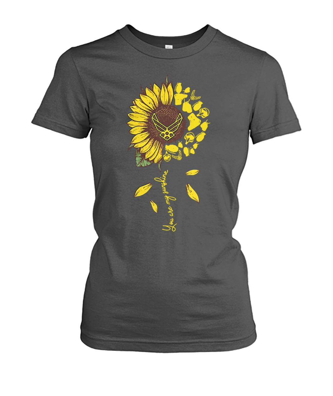 Sunflower you are my sunshine US air force women's crew tee