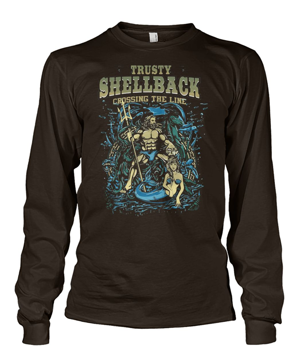 The US navy trusty shellback crossing the line equator military moral unisex long sleeve
