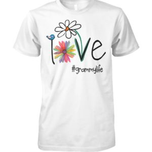 Womens love grammy life art flower unisex cotton tee