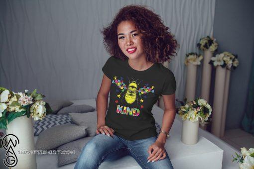 Autism awareness bee kind puzzle pieces shirt