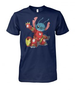 Avengers and lilo and stitch disney combo stitch Iron man unisex cotton tee