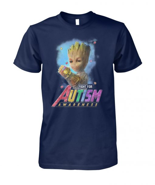 Baby groot fight for autism awareness unisex cotton tee