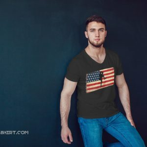 Baseball pitcher throws ball american flag shirt