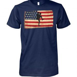 Baseball pitcher throws ball american flag unisex cotton tee