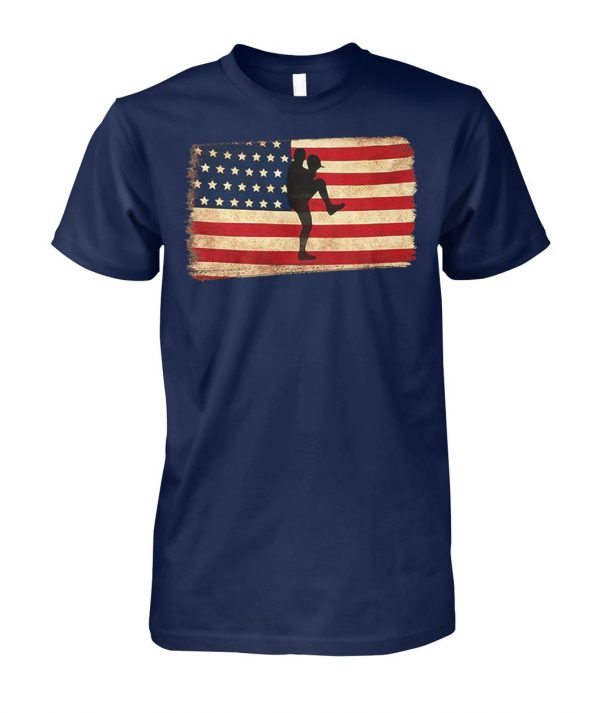 Baseball pitcher throws ball american flag unisex cotton tee