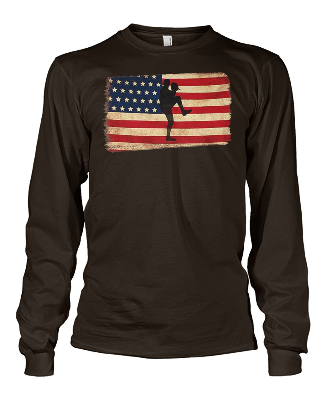 Baseball pitcher throws ball american flag unisex long sleeve